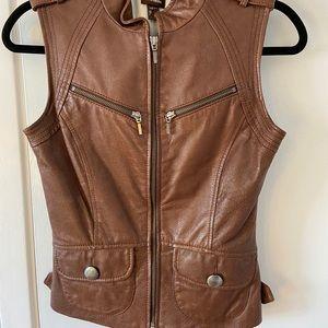 Danier size 00 leather moto vest brown